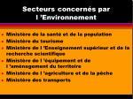 secteurs concern s par l environnement