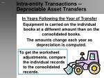 intra entity transactions depreciable asset transfers