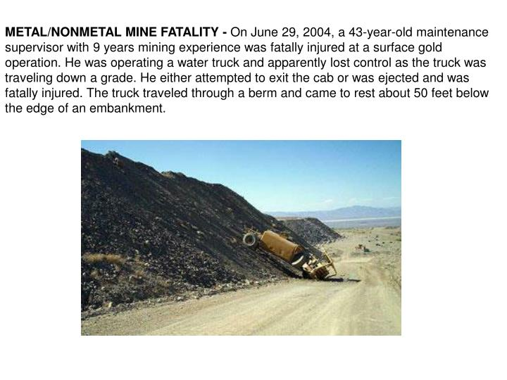 METAL/NONMETAL MINE FATALITY -
