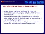 vehicle to vehicle communications research