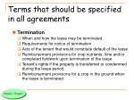 terms that should be specified in all agreements2