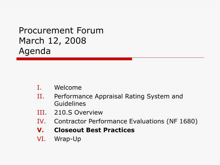 procurement forum march 12 2008 agenda n.