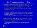 ghs implementation usa