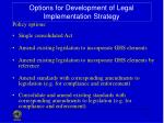 options for development of legal implementation strategy