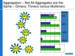 aggregation not all aggregates are the same dimers trimers versus multimers