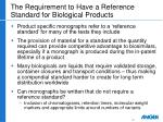 the requirement to have a reference standard for biological products