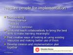 prepare people for implementation