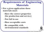 requirements of engineering materials