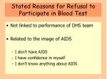 stated reasons for refusal to participate in blood test