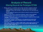 analysis of record moving beyond the prototype rtma
