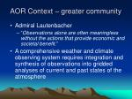 aor context greater community