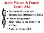james watson francis creek 1953
