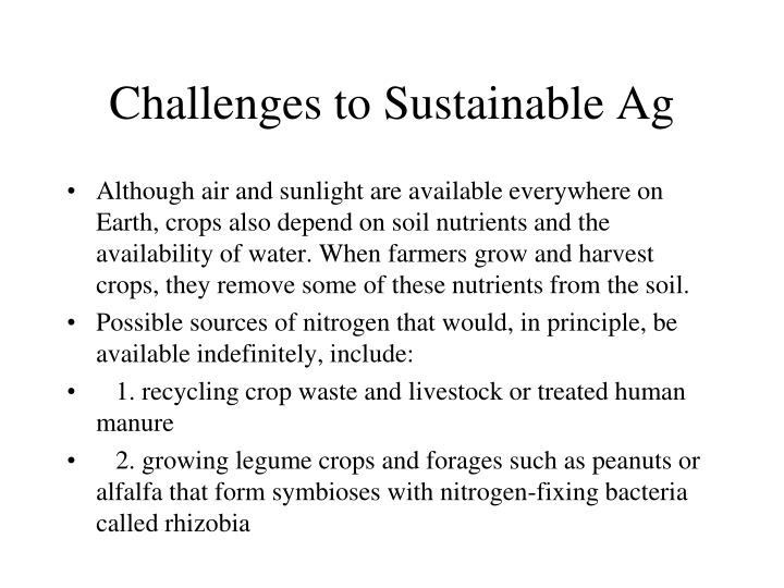 Challenges to Sustainable Ag