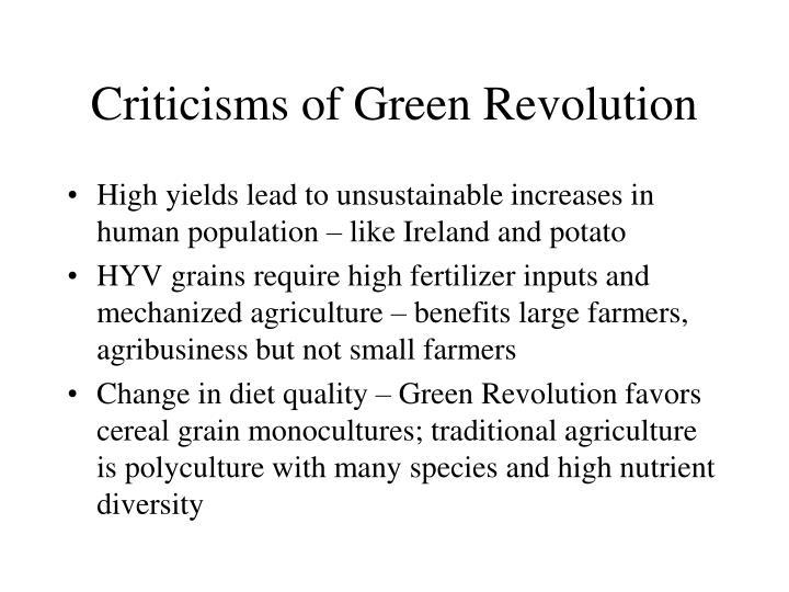 Criticisms of Green Revolution