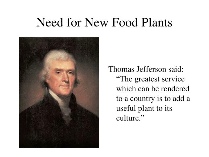 Need for New Food Plants