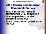 2010 census and american community survey