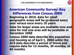 american community survey key differences from census 2000