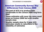american community survey key differences from census 20001