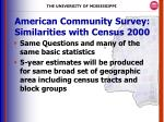 american community survey similarities with census 2000
