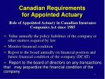 canadian requirements for appointed actuary