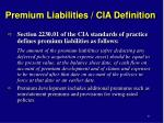 premium liabilities cia definition
