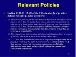 relevant policies