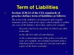 term of liabilities