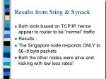 results from sting synack