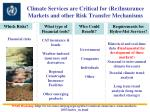 climate services are critical for re insurance markets and other risk transfer mechanisms