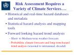 risk assessment requires a variety of climate services