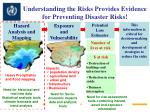 understanding the risks provides evidence for preventing disaster risks