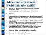 adolescent reproductive health initiative arhi