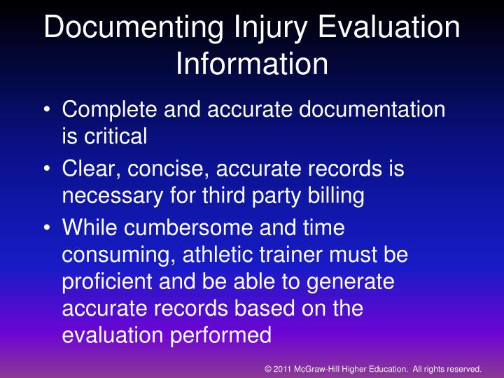 Documenting Injury Evaluation Information
