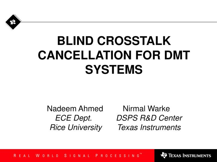 blind crosstalk cancellation for dmt systems n.