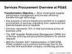 services procurement overview at pg e