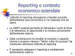 reporting e contesto economico aziendale