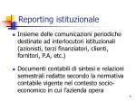 reporting istituzionale