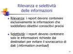 rilevanza e selettivit delle informazioni