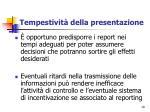 tempestivit della presentazione