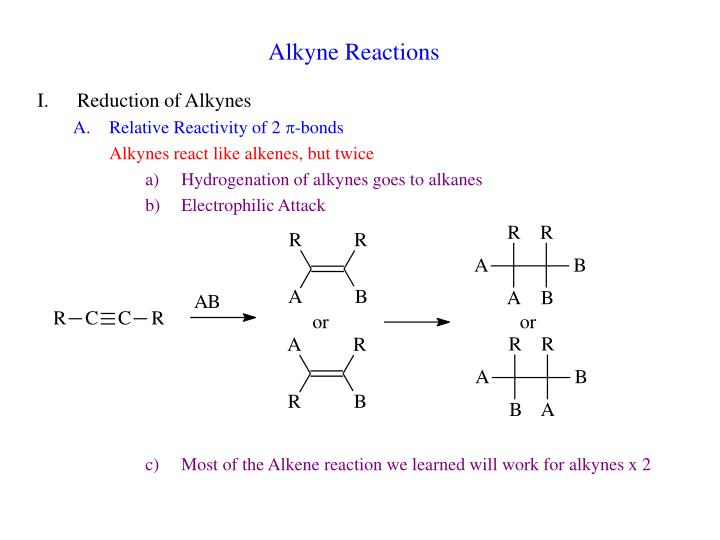 alkyne reactions n.