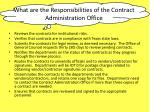 what are the responsibilities of the contract administration office