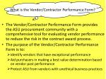 what is the vendor contractor performance form
