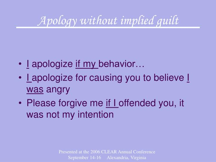 Apology without implied guilt