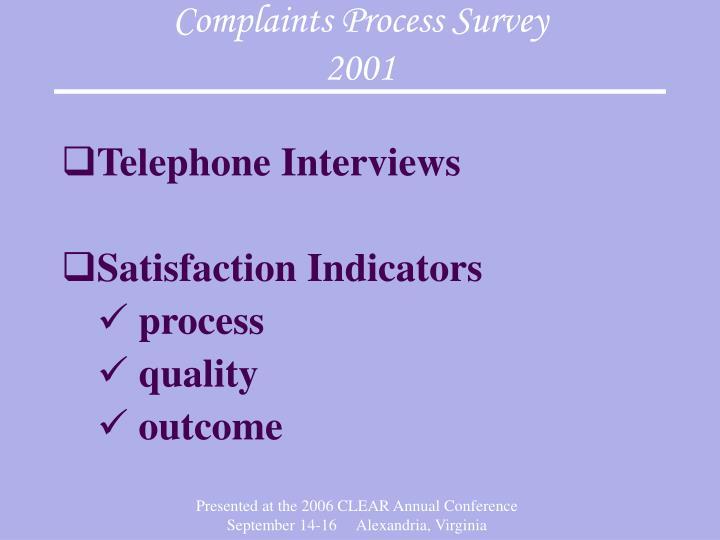 Complaints Process Survey
