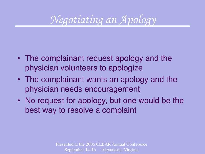Negotiating an Apology