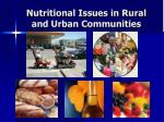 nutritional issues in rural and urban communities