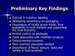 preliminary key findings