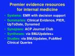 premier evidence resources for internal medicine