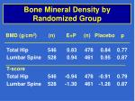 bone mineral density by randomized group