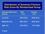 distribution of summary fracture risk score by randomized group